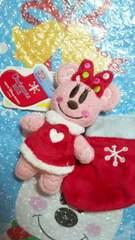 ディズニーランドTDL/TDS/クリスマス30周年/サンタ靴下付/ぬいぐるみバッジ/ミニー