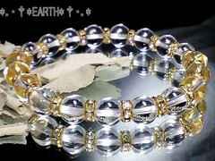 天然石★8ミリ高級天然水晶AAAクリスタル&金色ロンデル数珠