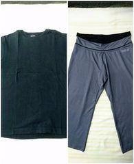 Hanes 無地Tシャツ L DRY FIT クロップドパンツ M ランニング スポーツウェア(036)