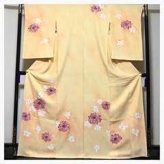 極上 高級呉服 三越謹製 華紋様 上質 正絹 訪問着 イエロークリ
