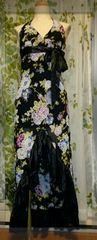 ホルターアシメ花柄ストレッチロングドレス