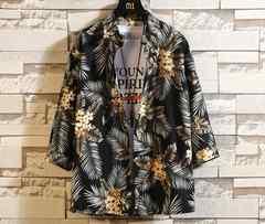 ワイシャツ メンズ トップス 半袖  七分袖 ボタン 花柄 /WAK24