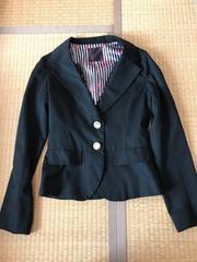 美品★レース付き★ジャケット ブレザー 上着 黒 M