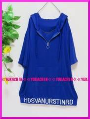 新作◆大きいサイズ3Lブルー◆裾&フード英字◆パーカーチュニック