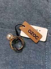 オゾック!OZOC!クロスデザインリング!新品パール