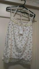 新品タグ付きM ピンク紫花柄胸元花柄刺繍レースキャミソール白