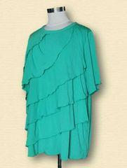 グリーンフリルTシャツ大きいサイズ4L