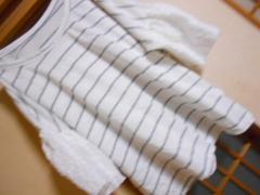 袖花柄レースボーダーカットソー*クリックポスト164円