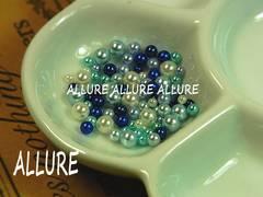 穴なしパール ブルー系×ホワイト2〜4ミリMIX レジン 50粒