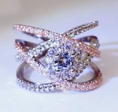 1円〜◆cross rope diamond0.5Ct RING 11号