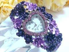 カラフルお花のハート型時計バングル(紫