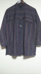大きいサイズ 絣人 紬織 長袖シャツ M∽L