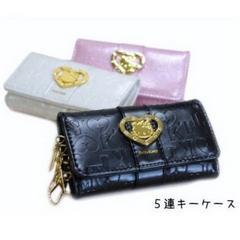 【送料無料】キティ キーケース(ロゴ型押し)白・黒・ピンク!