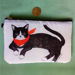 バンダナ黒猫柄ポーチ