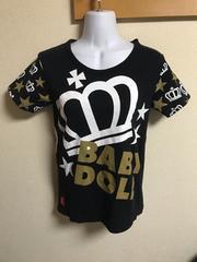 ★BABYDOLL 黒×ロゴ入Tシャツ  S★�E