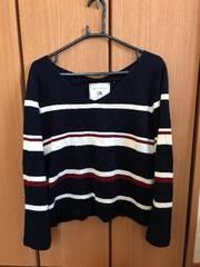 紺色 ボーダー セーター L