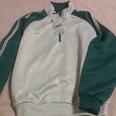 アシックス*グレー&ダークグリーントレーニングシャツ