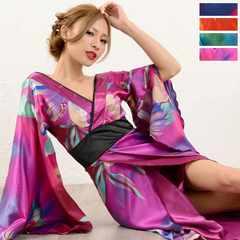 グラデーション 和柄サテン着物 ロングドレス 衣装 コスプレ キャバ 花魁 チャムドレス