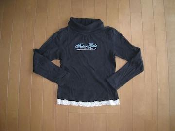 長袖ハイネックTシャツ/黒★150cm
