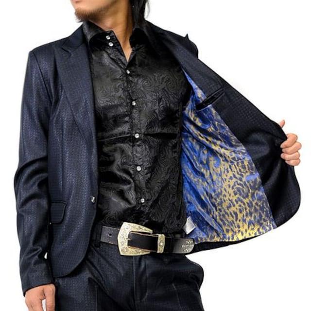 同色千鳥柄ダークネイビー1Bセットアップスーツ新品S < 男性ファッションの