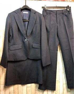新品☆9号パンツ・スカート3点セットスーツ紺お仕事に♪s214