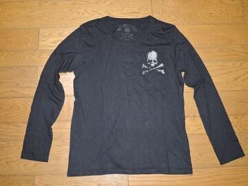 ロエンROENカットソー48黒メタルストーンスカル ロンT