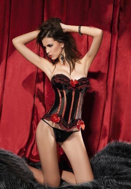 黒地に赤リボンのコルセット  < 女性ファッションの