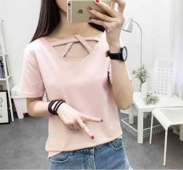 《新品》デザイン Tシャツ サイズM ピンク