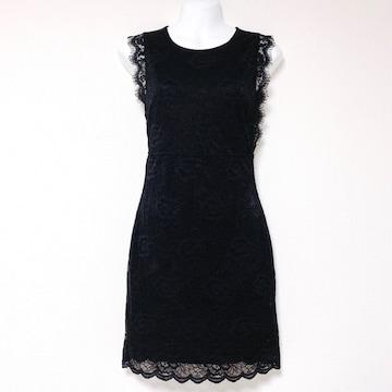 H&M黒ブラックフラワーレース花タイトミニワンピースドレス