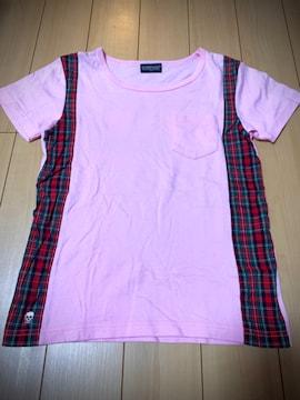 チャビーギャング 140 赤チェック柄 半袖Tシャツ ピンク