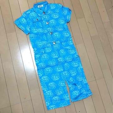 新品◆ドクロつなぎ◆半袖&膝丈パンツ◆130スカル◆ブルー
