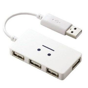 ☆ELECOM USBハブ バスパワー 4ポート ホワイト顔