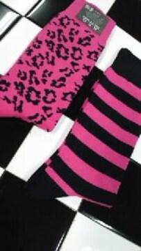 新品◆靴下�A足セット◆ピンク系◆ヒョウ柄&ボーダー柄◆