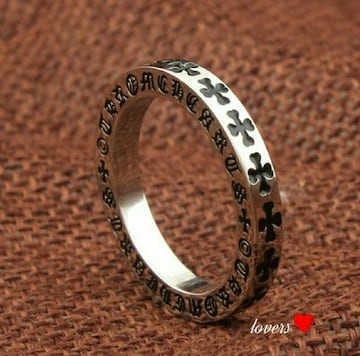 送料無料16号クロムシルバークロス十字架フープリング指輪