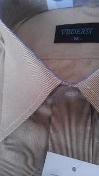 Mサイズ首回り39形態安定!半袖ワイシャツ!ゴールドand黄土色色合い!紳士的