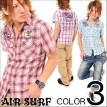 襟ワイヤー入ワッペン付♪SURFプリントチェックシャツ