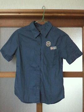 【新品同様】半袖ミリタリーシャツ☆カジュアル*無地&ワッペン