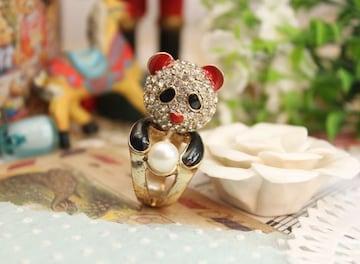 新品 ゴスロリ姫系 ラインストーンパンダさんリング指輪12号