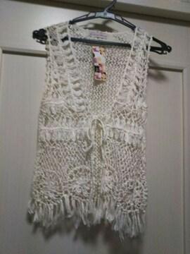 麻ニットM 花柄刺繍かぎ針編みボレロ カーディガンノースリーブ