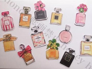 手書き風パフューム香水フレークシール 12枚SET●ハンドメイドに
