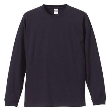 5.6オンス ロングスリーブTシャツ(1.6インチリブ)ネイビーXL