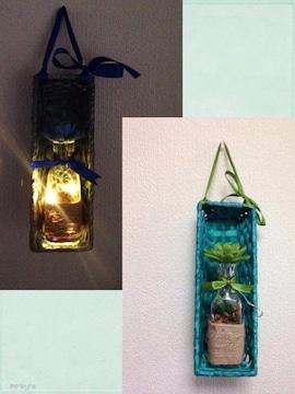 バンブーとガラス瓶の壁飾りLEDライト★テーブルライトにも
