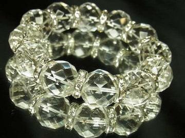 開運パワーストーン 64面ダイヤカット水晶ブレスレット 16ミリ数珠