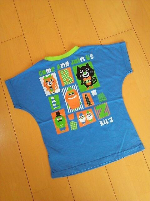 新品吸汗速乾天竺素材でかキャラ柄Tシャツ120青※ビッツ/Bit'z  < ブランドの