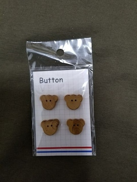 木製クマのボタン18�o×4コ