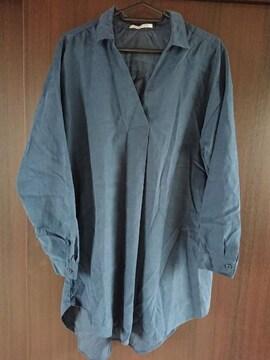 秋〜試着だけ ネイビー丈長めシャツゆったりLサイズ