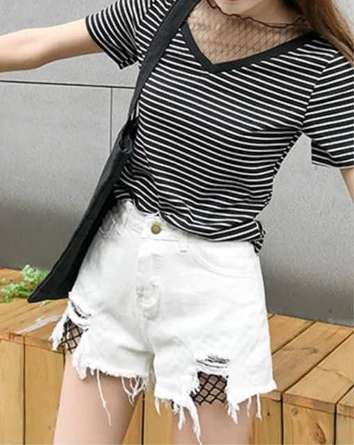 ヴィンテージ風 デニムショートパンツ(XL寸・白) < 女性ファッションの