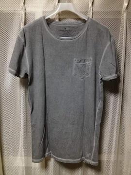 アメリカンイーグル ヴィンテージ ユーズド加工 無地 ポケット 半袖Tシャツ XS グレー黒