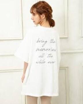 イング/INGNI/フォトバックロゴチュニックTシャツ/オフホワイトM