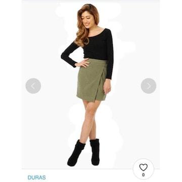 durasデュラス 緑みどりカーキ スエードミニスカート